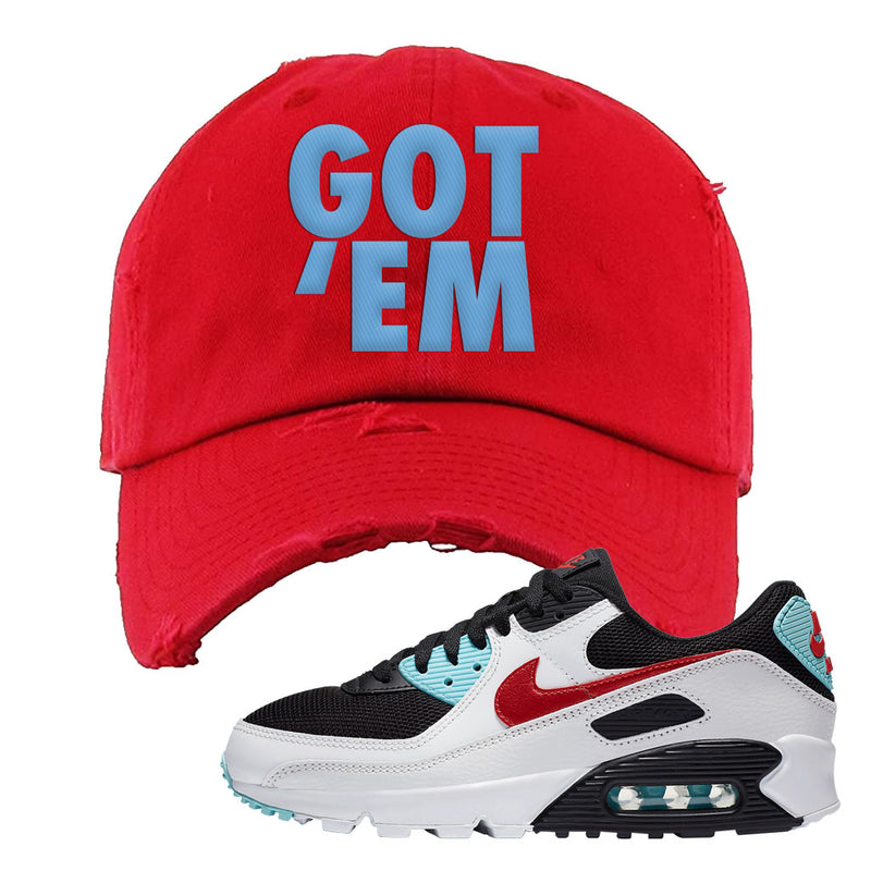 Air Max 90 Bleached Aqua and Chile Red Distressed Dad Hat | Red, Got Em