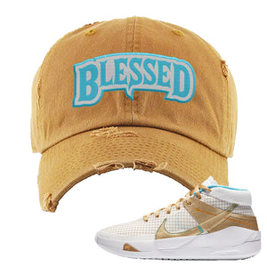 KD 13 EYBL Distressed Dad Hat | Blessed Arch, Timber