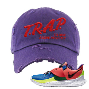 Kyrie Low 3 NY vs NY Distressed Dad Hat | Trap To Rise Above Poverty, Purple