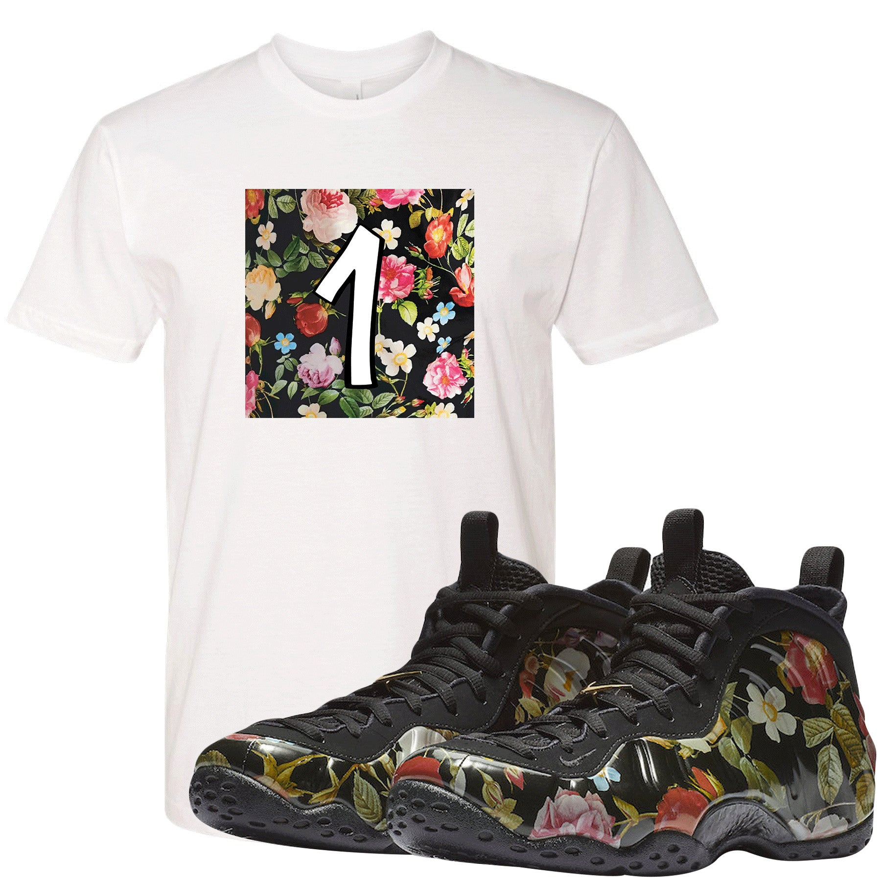 reputable site 3972c 0cbbb Wear this sneaker matching t-shirt to match your Air Foamposite One Floral  sneakers.
