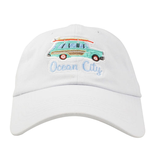 Embroidered on the front of the Ocean City NJ Stationwagon dad hat is a Station wagon embroidered in teal brown and light blue