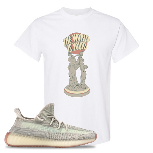Yeezy Boost 350 V2 Citrin Non-Reflective The World Is Yours Statue White Sneaker Matching Tee Shirt