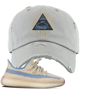 Yeezy Boost 350 V2 Linen Distressed Dad Hat | Light Gray, All Seeing Eye