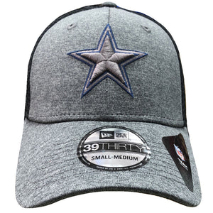 Embroidered on the front of the Dallas Cowboys stretch fit cap is the Dallas Cowboys logo embroidered in heather gray and navy blue