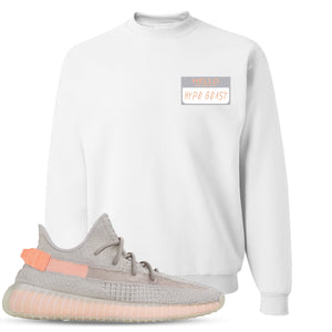 Yeezy Boost 350 True Form V2 Sneaker Hook Up Hello My Name Is Hype Beast Woe White Crewneck Sweater