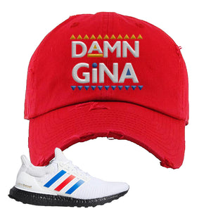 Ultra Boost White Red Blue Distressed Dad Hat | Red, Damn Gina