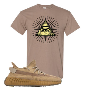 Yeezy Boost 350 V2 Earth Sneaker T-Shirt To Match | All Seeing Eye, Brown Savana