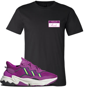 Ozweego Vivid Pink Sneaker Black T Shirt | Tees to match Adidas Ozweego Vivid Pink Shoes | Hello my Name is Mami