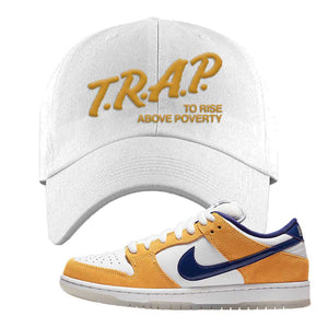 SB Dunk Low Laser Orange Dad Hat | White, Trap To Rise Above Poverty