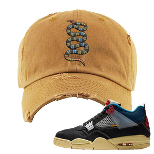 Union LA x Air Jordan 4 Off Noir Distressed Dad Hat | Coiled Snake, Timber