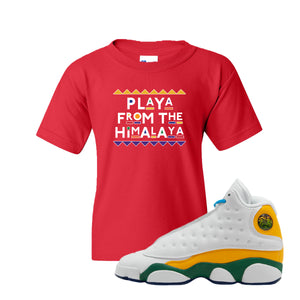 Playa From the Himalaya Red Kid's T-Shirt to match Air Jordan 13 GS Playground Kids Sneaker