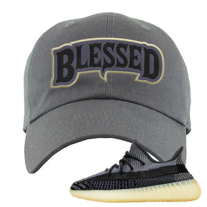 Yeezy Boost 350 V2 Asriel Carbon Dad Hat | Blessed Arch, Dark Gray