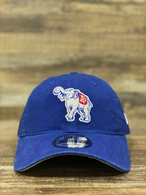 front of Athletics elephant  dad hat | Philadelphia athletics dad hat | New era royal connie mac 020 dad hat blue  osfm