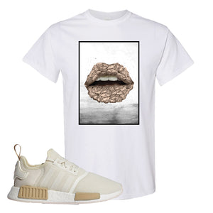 NMD R1 Chalk White Sneaker White T Shirt | Tees to match Adidas NMD R1 Chalk White Shoes | Rose Lips