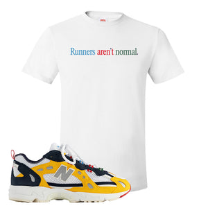 827 Abzorb Multicolor Yellow Aime Leon Dore Sneaker White T Shirt | Tees to match 827 Abzorb Multicolor Yellow Aime Leon Dore Shoes | Runner's Aren't Normal