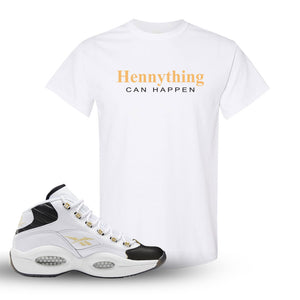 Reebok Question Mid Black Toe T Shirt | White, Hennything Can Happen