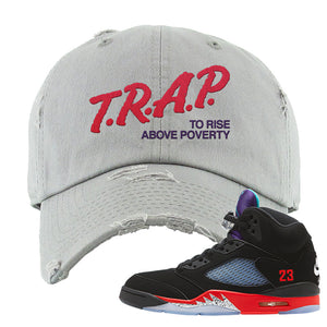 Air Jordan 5 Top 3 Distressed Dad Hat | Light Gray, Trap To Rise Above Poverty