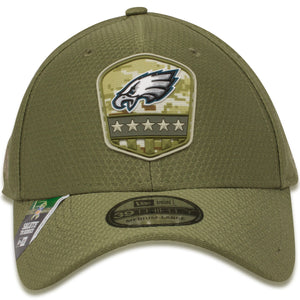 front of  Eagles military Stretch fit hat | Philadelphia eagles salute to service 39thirty flexfit hat