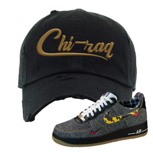 Air Force 1 Low Plaid And Camo Remix Pack Distressed Dad Hat | Chiraq, Black