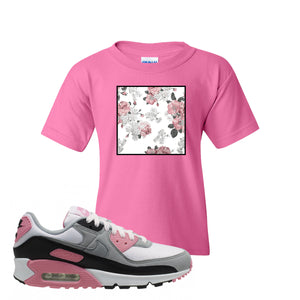 WMNS Air Max 90 Rose Pink Flower Box Azalea Kid's T-Shirt To Match Sneakers