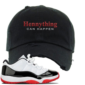 Jordan 11 Low White Black Red Sneaker Black Distressed Dad Hat | Hat to match Nike Air Jordan 11 Low White Black Red Shoes | HennyThing Is Possible