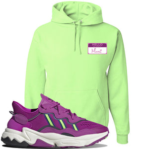 Ozweego Vivid Pink Sneaker Neon Green Pullover Hoodie | Hoodie to match Adidas Ozweego Vivid Pink Shoes | Hello my Name is Mami