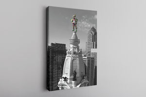 Jason Kelce City Hall Canvas | Kelce City Hall Statue Wall Canvas this canvas has jason kelce on top of city hll