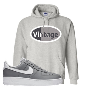 Air Force 1 Low Wolf Grey White Hoodie | Ash, Vintage Oval