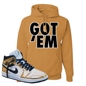 Air Jordan 1 Mid SE Metallic Gold Hoodie | Got Em, Old Gold
