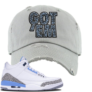 Jordan 3 UNC Sneaker Light Gray Distressed Dad Hat | Hat to match Nike Air Jordan 3 UNC Shoes | Got Em