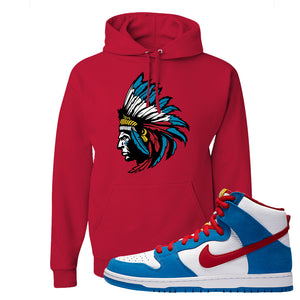 SB Dunk High Doraemon Hoodie | Indian Chief, Red