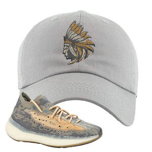 Yeezy Boost 380 Mist Sneaker Light Gray Dad Hat | Hat to match Adidas Yeezy Boost 380 Mist Shoes | Indian Chief