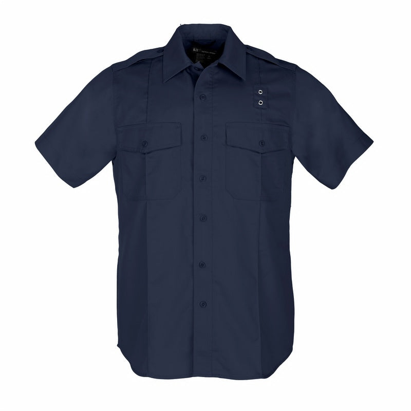 the Police Uniform Class A Short Sleeve Navy Button Down Shirt | Twill PDU Concealed Zipper Navy Blue Duty Shirt has a badge loop for police officers and patch pockets