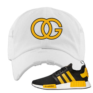 NMD R1 Active Gold Distressed Dad Hat | White, OG