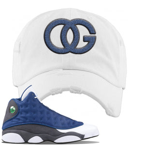 Jordan 13 Flint 2020 Sneaker White Distressed Dad Hat | Hat to match Nike Air Jordan 13 Flint 2020 Shoes | OG