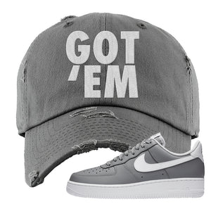 Air Force 1 Low Wolf Grey White Distressed Dad Hat | Dark Gray, Got Em
