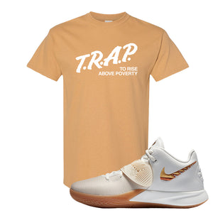 Kyrie Flytrap 3 Summit White T Shirt | Trap To Rise Above Poverty, Old Gold