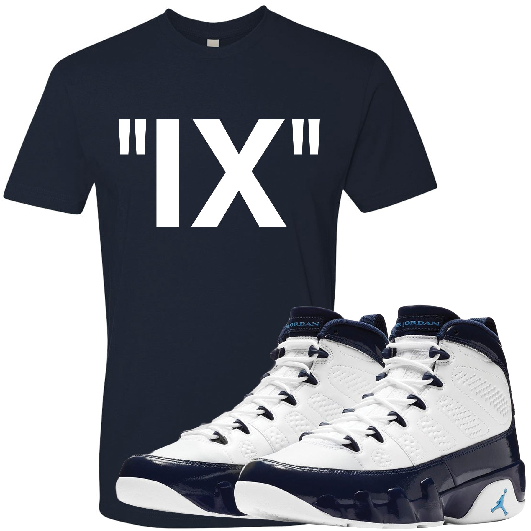 68e04381455a41 Match your pair of Jordan 9 UNC All Star Blue Pearl sneakers with this  sneaker matching