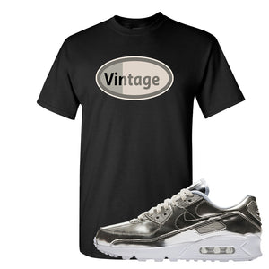 Air Max 90 WMNS 'Medal Pack' Chrome Sneaker Black T Shirt | Tees to match Nike Air Max 90 WMNS 'Medal Pack' Chrome Shoes | Vintage Oval