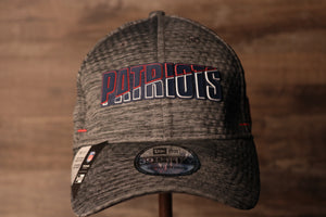 Patriots 2020 Training Camp Flexfit | New England Patriots 2020 On-Field Grey Training Camp Stretch Fit  the front of this patriots hat has the teams name on the front