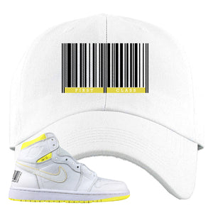 Air Jordan 1 First Class Flight First Class Barcode White Sneaker Matching Dad Hat