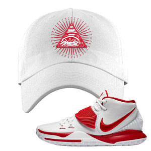 Kyrie 6 White University Red Dad Hat | All Seeing Eye, White
