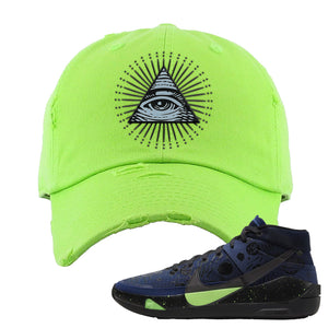 KD 13 Planet of Hoops Distressed Dad Hat | All Seeing Eye, Neon Green