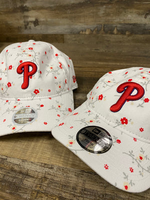 mommy and me front of Philadelphia Phillies   female floral dad hat  blossom spring flower print 920 DAD HAT | New era female dad hat