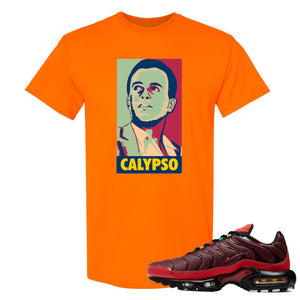 Printed on the front of the Air Max Plus Sunburst sneaker matching orange tee shirt is the Harry Belafonte Calypso logo
