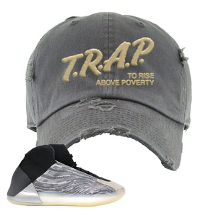 Yeezy Quantum Distressed Dad Hat | Dark Gray, Trap To Rise Above Poverty