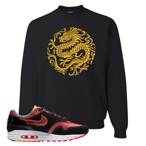 Air Max 1 NYC Chinatown Strength Of A Dragon Black Crewneck Sweatshirt To Match Sneakers