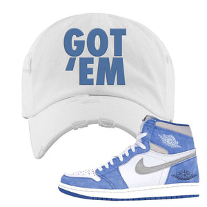 Air Jordan 1 High Hyper Royal Distressed Dad Hat | Got Em, White