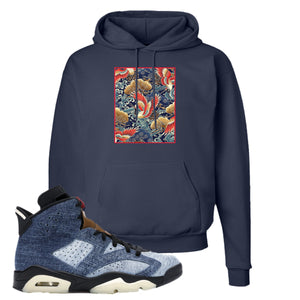 Jordan 6 Washed Denim Hoodie | Navy Blue, Crane Over Water