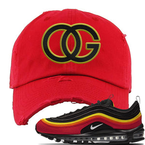 Air Max 97 Black / Chile Red / Magma Orange / White Distressed Dad Hat | OG, Red